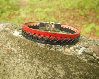 Two color leather bracelet Red strip - black strip, mens leather bracelet, thin leather bracelet,