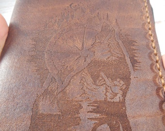 Leather passport cover Wolf