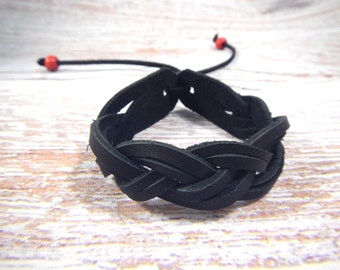 Leather braided bracelet Double braid