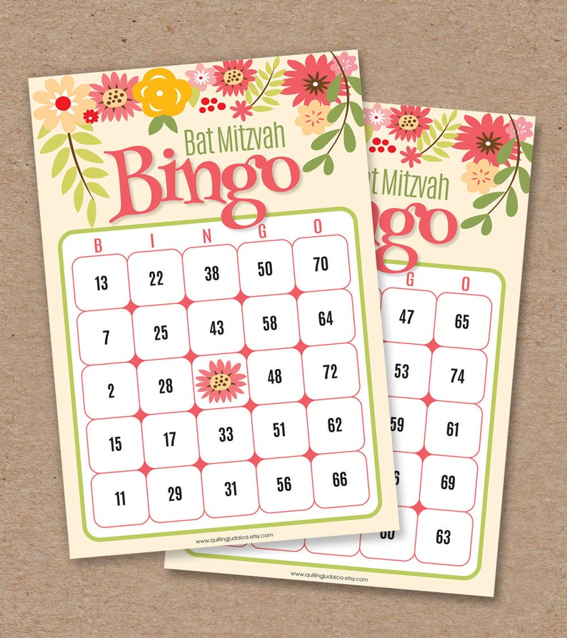 photograph relating to Printable Bingo Calling Cards titled 30 Bat Mitzvah Bingo Playing cards - Bingo Getting in touch with Card - Printable Do it yourself - Prompt Down load: Floral Middle Choice