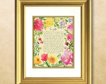Woman of Valor - Eshet Chayil - Floral Watercolor Print