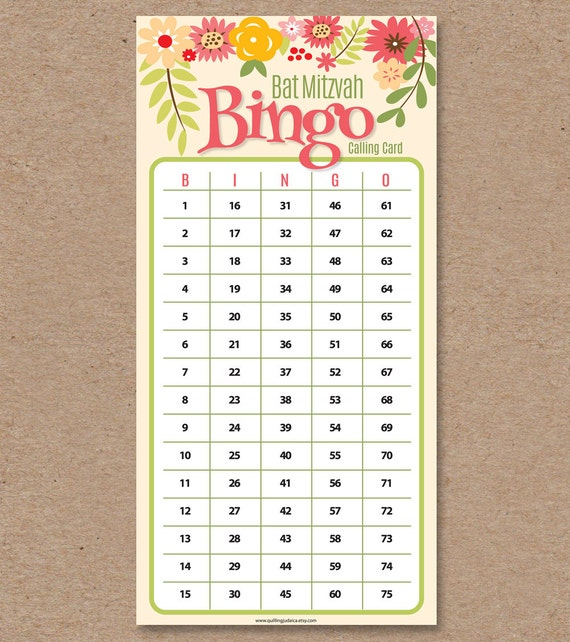 graphic regarding Printable Bingo Calling Cards identify 30 Bat Mitzvah Bingo Playing cards - Bingo Getting in contact with Card - Printable Do it yourself - Quick Obtain: Floral Middle Assortment