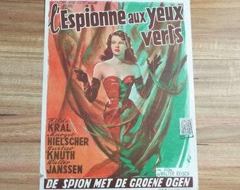 Vintage 1954 Belgium Film Movie Poster L'Espionne Aux Yeux Verts (Die Mucke) The Spy With Green Eyes Walter Reisch Cannes 1950's Poster