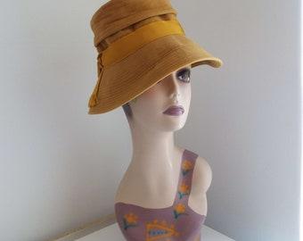 Vintage 1970 s Mustard Cloche Hat With Button Detail   Stitching Gold  Cloche Hat Women s Hat Formal Hat Evening Hat Retro eb8bc3552bf5