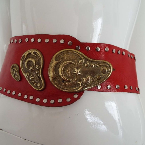 Vintage 1980's Red Leather & Brass Belt Soft Red … - image 4