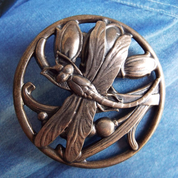 Vintage Dragonfly Brooch Pin Round Dragonfly Brooc
