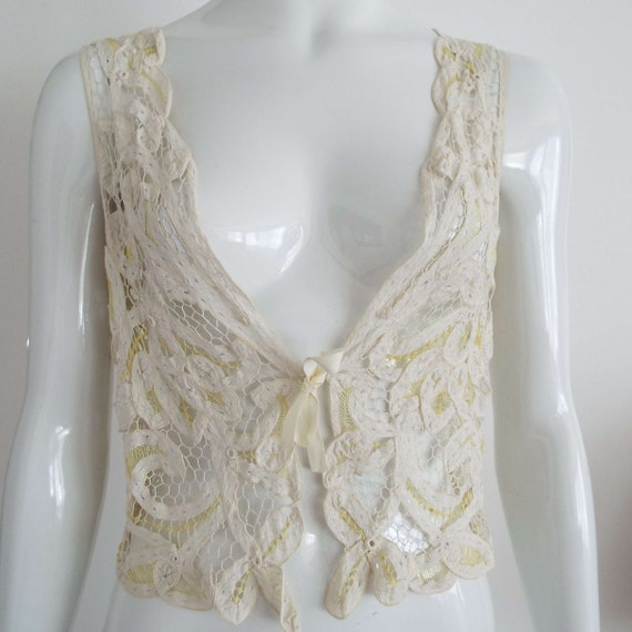Antique Edwardian Lace Camisole Ivory White  & Le… - image 9