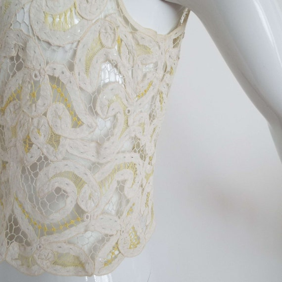 Antique Edwardian Lace Camisole Ivory White  & Le… - image 8