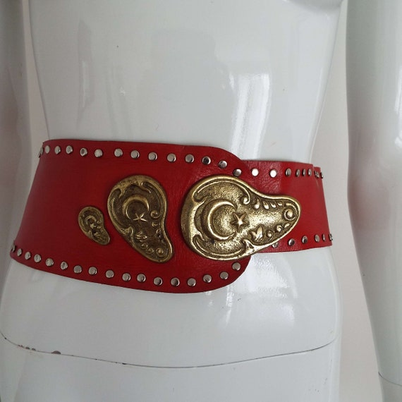 Vintage 1980's Red Leather & Brass Belt Soft Red … - image 1