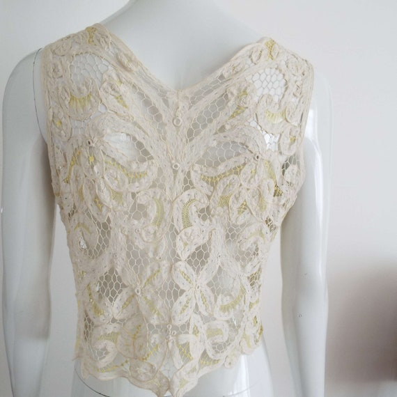 Antique Edwardian Lace Camisole Ivory White  & Le… - image 2