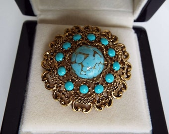 Vintage 1960's Emmons Faux Turquoise Brooch Pin