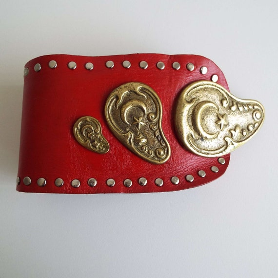 Vintage 1980's Red Leather & Brass Belt Soft Red … - image 2