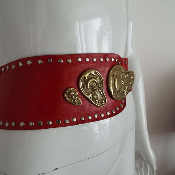 Vintage 1980's Red Leather & Brass Belt Soft Red … - image 10