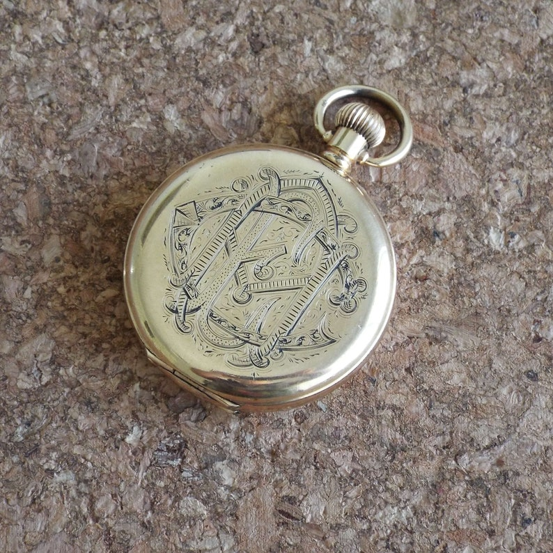 Antique 1908 Waltham Full Hunter Pocket Watch Grade 620 16s Hunting 15  Jewels 9K Gold Plated With Military WWI Connection Australia Mens