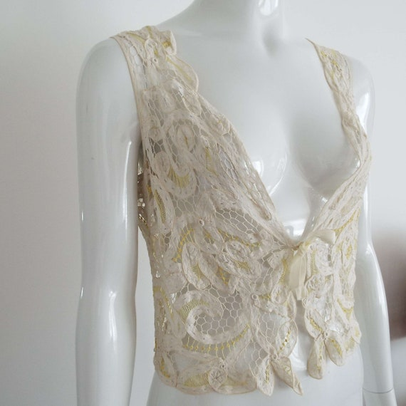Antique Edwardian Lace Camisole Ivory White  & Le… - image 10