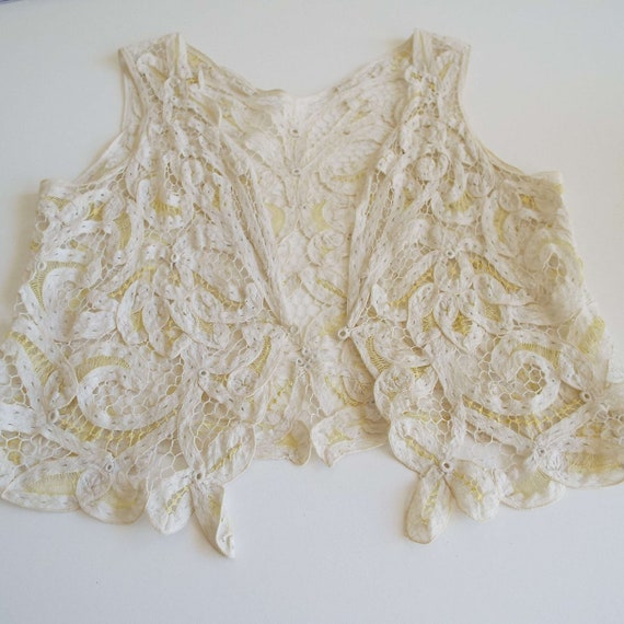 Antique Edwardian Lace Camisole Ivory White  & Le… - image 4