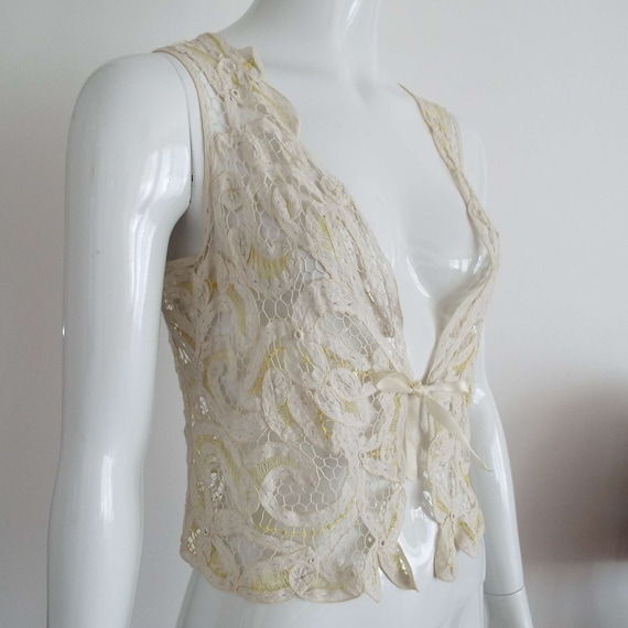 Antique Edwardian Lace Camisole Ivory White  & Le… - image 3