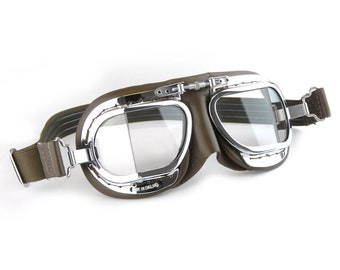 Compact Motorcycle Goggles - Brown Leather