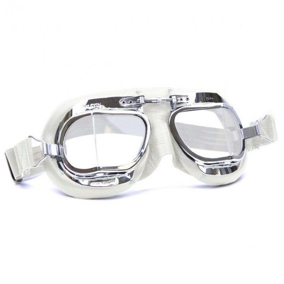 a00c643d21 Halcyon Mark 49 Classic Goggles   White Leather Facemask   Hand-Stitched  onto Chrome Plated Frames   For Open Faced Motorcycle Helmets