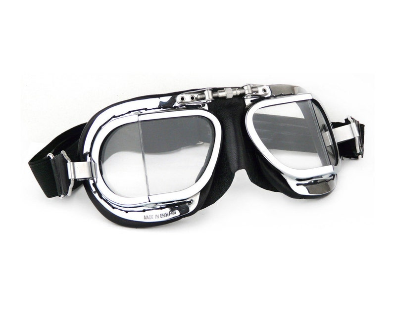39af20a44f Halcyon Mark 9 Compact Deluxe Motorcycle Goggles   Black PVC Leather    Chrome Plated Frames   For Open Faced Motorcycle Helmets