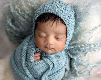 Wrap and Bonnet Set Newborn Knit Layering Wrap Blanket Photography Prop Aid Potato Sack Eyelet Newborn Baby Hat
