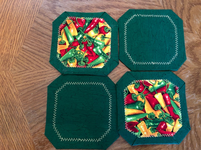 Chili Coasters Set of Four Size 5 Inches Square