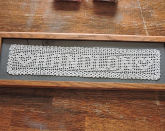 Hand Crocheted Name Doily