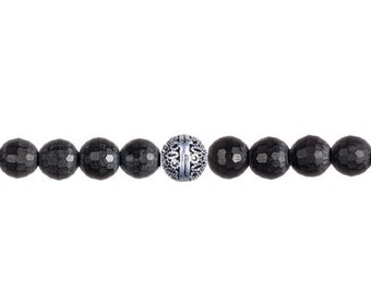 Matte faceted black Onyx with silver filigree Bali bead bracelet