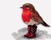Wooden brooch pin quot DRY FEET quot vintage redbrest robin bird gift birthday mothers day best friend rubber boots wellingtons christmas