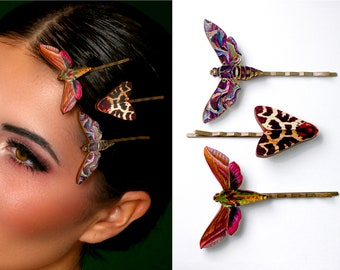 """Large whimsical wooden hair needle pin """"THE MOTH PACK""""  large vintage butterfly gothic gift lasercut jewelry death's head hawk moth hawkmoth"""