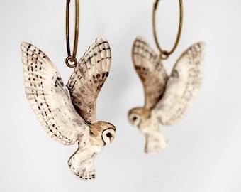 "Whimsical wooden hoop earrings creole  ""EAR U ME?"" hoops lasercut gift vintage flying barn owl jewelry charm wood birds woodland"