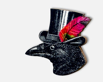 """Whimsical wooden brooch pin """"BIRD OF PASSAGE"""" raven crow jaunty cylinder hat wanderlust jewelry punk gothic funny gift"""