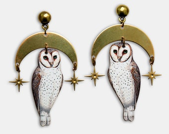 """Whimsical wooden earrings studs """"OH STARRY NIGHT"""" barn owl night moon stars vintage gift bird lasercut bronze collage contemporary"""