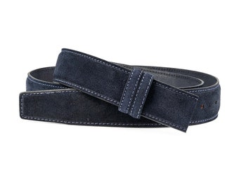 045f74b51 Dark blue Suede Belt Men s belts Italian leather belt strap Womens belts No  buckle 1-3-8 inch wide Replacement belt Adjustable