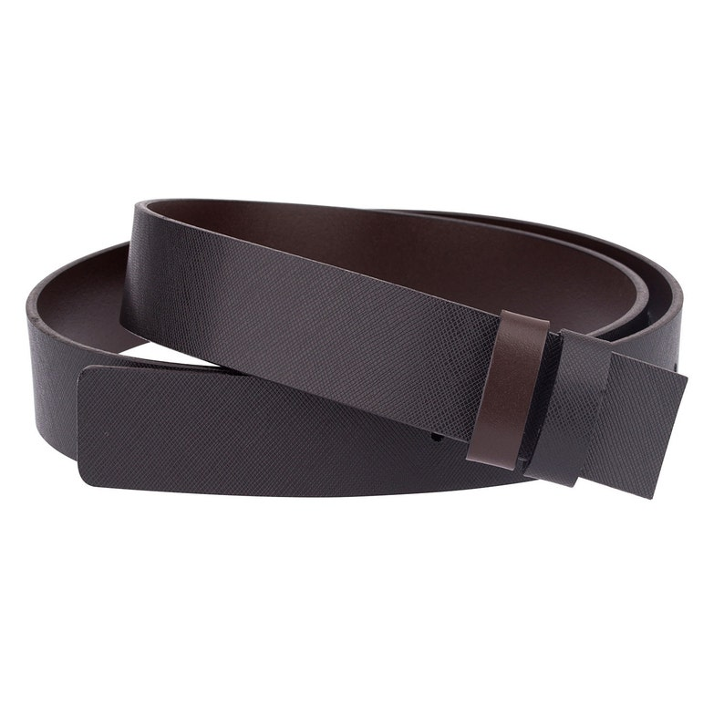 b9c564043d Saffiano Leather belt strap Reversible Black brown Belts for Men Clamp  buckles Italian leather 34 mm / 1.3