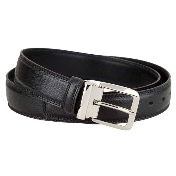 3 cm Saffiano Leather Belt in Black Men/'s belts Classic dress Made in Italy