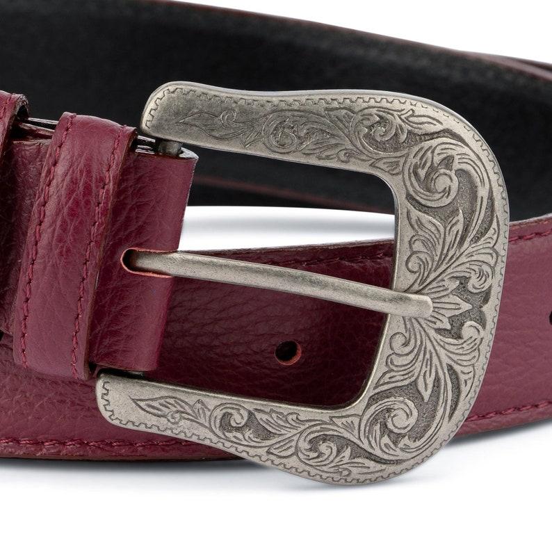 Western belts mens Burgundy belt Genuine leather Mens belts Cowboy belt with buckle Silver antique