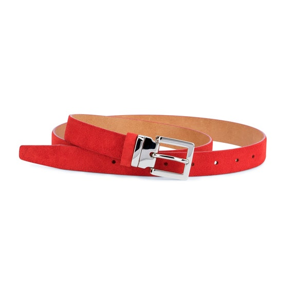 Handmade in Italy Available in 5 Leather Colors Thin Woman Belt in Full Grain Leather Square Buckle Belt Womens Belt in Red Leather
