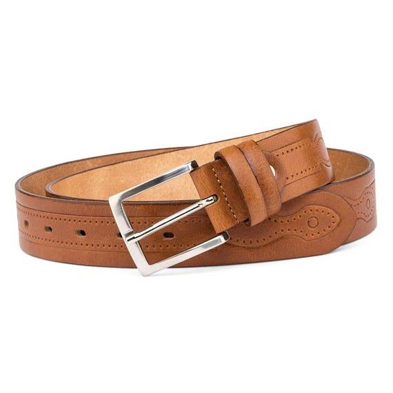 Dark Brown Vegetable Tanned Leather Belt Cognac Men/'s belts Coffee Veg tan grain