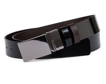 Reversible belt Black patent leather belt Mens belts Reversible buckle Italian leather Black brown