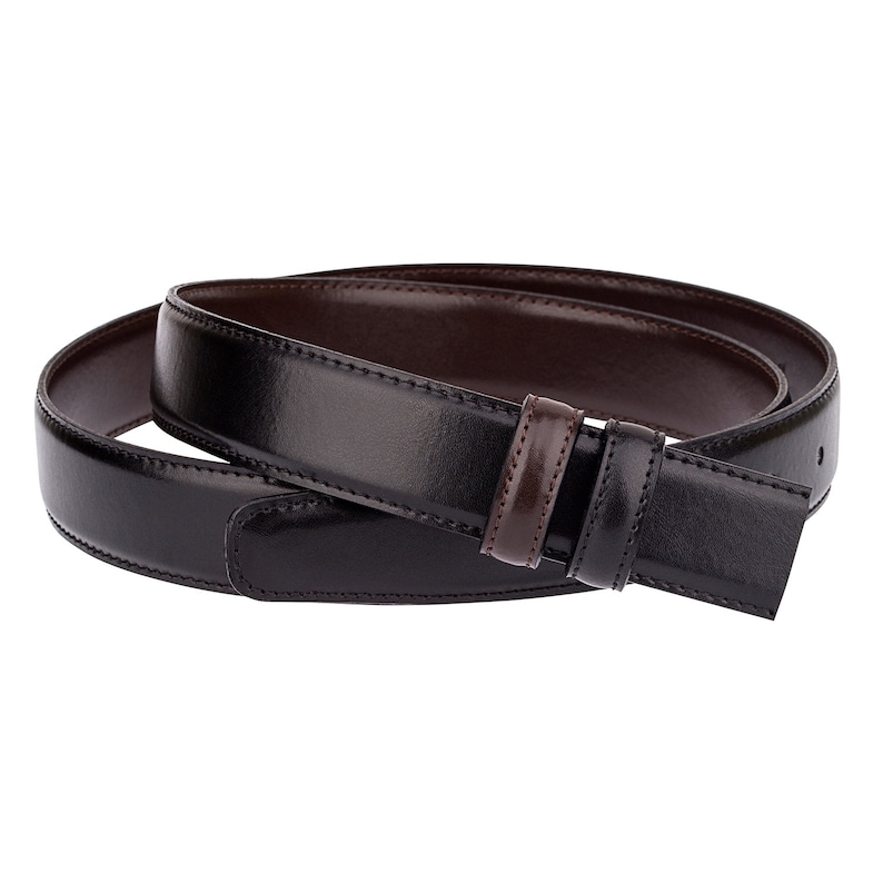 Narrow Mens belt Reversible strap 1 18 30 mm Women belts for dresses Black leather to brown 30-46 Big and Tall