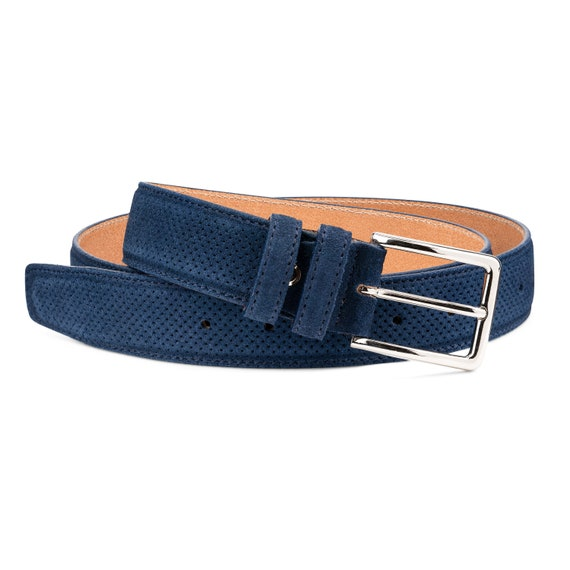 """Black Smooth Leather Belt Men/'s belts Italian calfskin with Gray Suede Size 34/"""""""