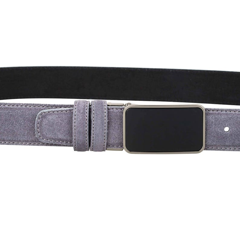 Grey suede Leather belt Gray Mens belt Womens belt Handmade Italian leather Gunmetal buckle
