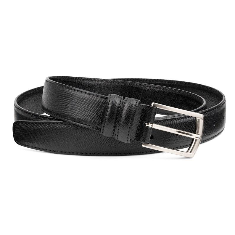 6e13969510 Saffiano Leather Belt for Men Black mens belts 1 1/8 inch wide Classic  dress look