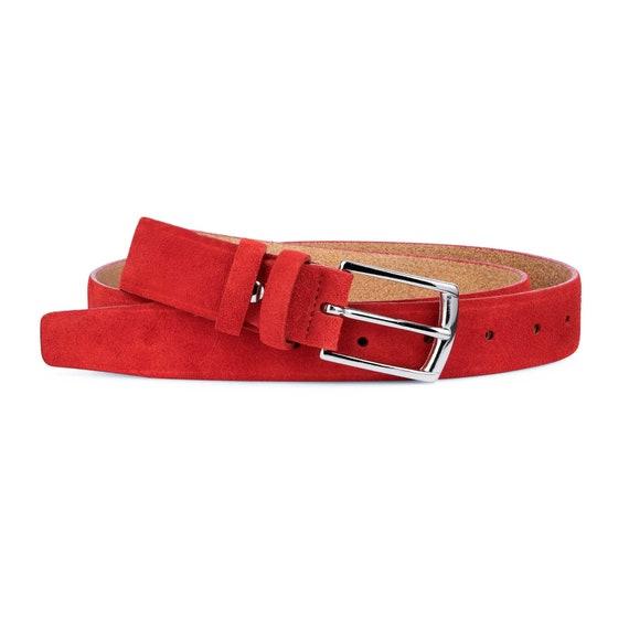 "Red suede belt Men/'s belts 100/% genuine leather Premium Italian Quality 1-3//8/"""