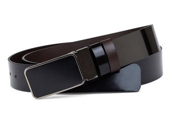 Black patent leather belt Mens belts Reversible belt Black matte buckle Italian leather