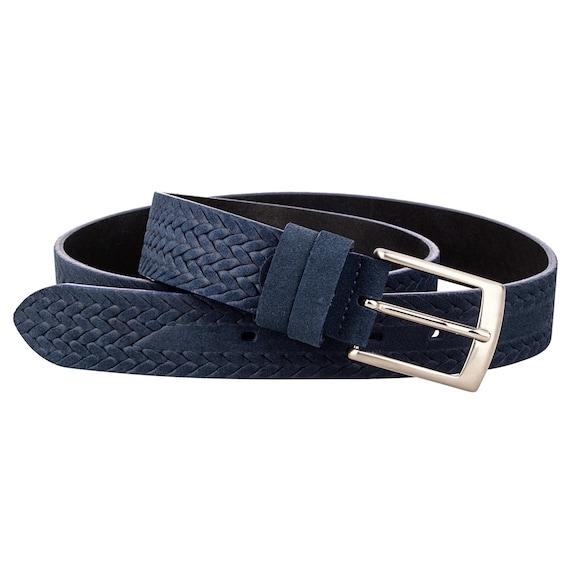 Blue Suede leather belt Men/'s belts Navy dress suit trousers Top Quality Sizes 32-46