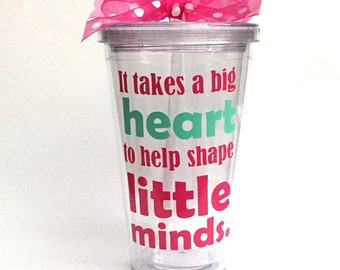 teacher christmas gift nursery school teacher teacher gift preschool teacher gift it takes a big heart personalized tumbler teacher