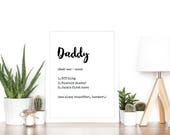 A4 personalised definition print, gift for daddy day uncle grandad father's day quote birthday