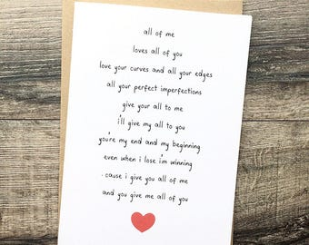 Handmade Card, Song Lyric Personalised Anniversary Wedding Birthday Friends  Card Engagement